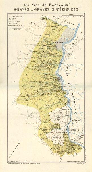 Associate Product BORDEAUX WINE. Vins de Bordeaux - Graves - Graves Supérieurs. Larmat 1949 map
