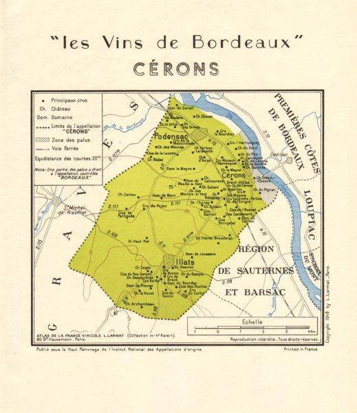 BORDEAUX WINE. Les Vins de Bordeaux - Cérons Cerons. Larmat 1949 old map