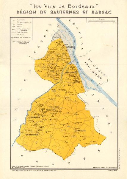 Associate Product BORDEAUX VINS WINE. Région de Sauternes et Barsac. Larmat 1949 old vintage map
