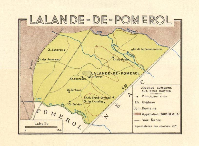Associate Product BORDEAUX WINE. Les Vins de Bordeaux - Lalande-de-Pomerol. Larmat 1949 old map