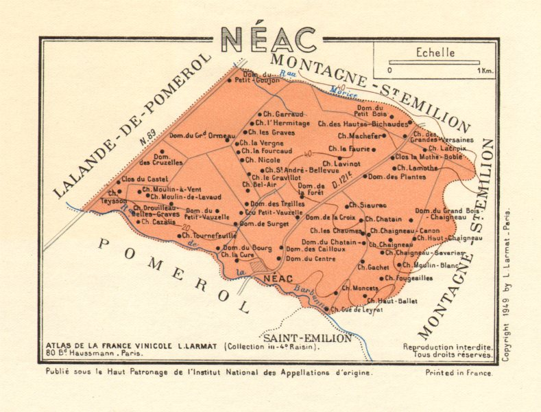 Associate Product BORDEAUX WINE. Les Vins de Bordeaux - Néac Neac. Larmat 1949 old vintage map