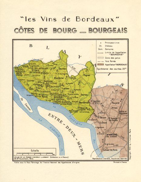 Associate Product BORDEAUX WINE. Vins de Bordeaux - Côtes de Bourg - Bourgeais. Larmat 1949 map