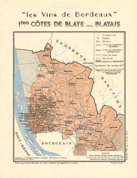 Associate Product VINS DE BORDEAUX WINE.Premières Côtes de Blaye - Blayais. Larmat 1949 old map