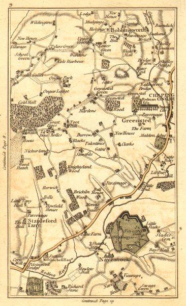 CHIPPING ONGAR. North Weald Bassett,Marden Ash,Toot Hill,Bobbingworth 1786 map