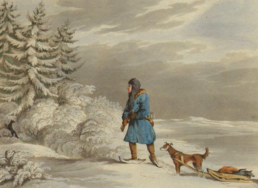 Associate Product RUSSIA. Siberian Exile shooting black Fox. Sledge snow shoes rifle (Orme)  1814