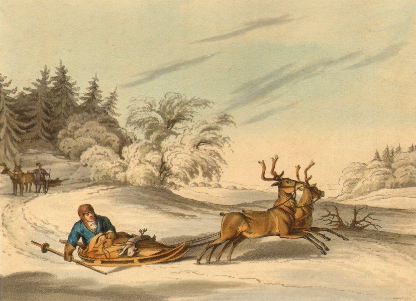 Associate Product ARCTIC. Laplander hunt Reindeer sledge (Field Sports- Edward Orme)  1814 print