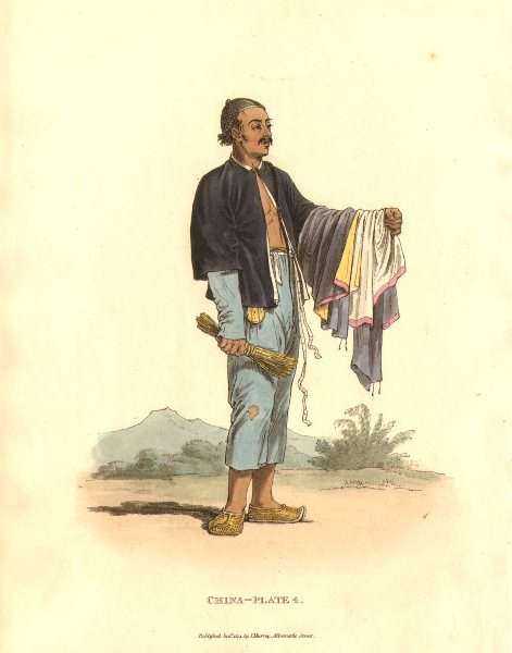 CHINA. A Man Servant. (Alexander- Chinese dress & manners)  1814 old print