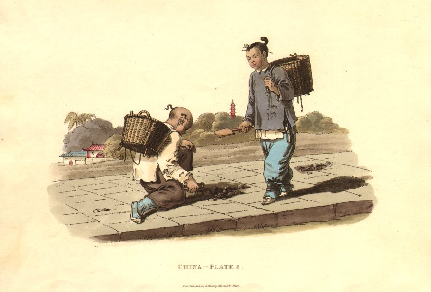 Associate Product CHINA. Children collecting Manure. ALEXANDER  1814 old antique print picture