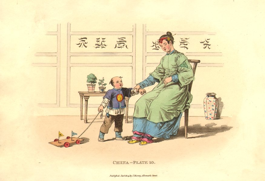 Associate Product CHINA. Lady, Son. Head dress. Mutilated ft binding. ALEXANDER  1814 old print