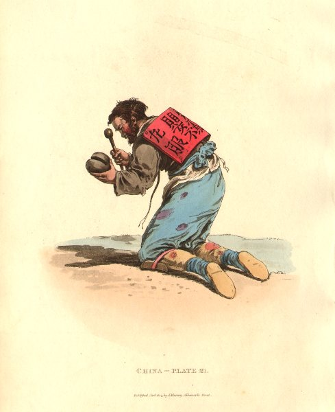 Associate Product CHINA. Chinese Mendicant. No children care him. ALEXANDER  1814 old print