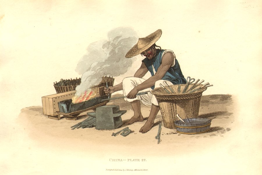Associate Product CHINA. A travelling Smith. (Alexander- Chinese dress & manners)  1814 print