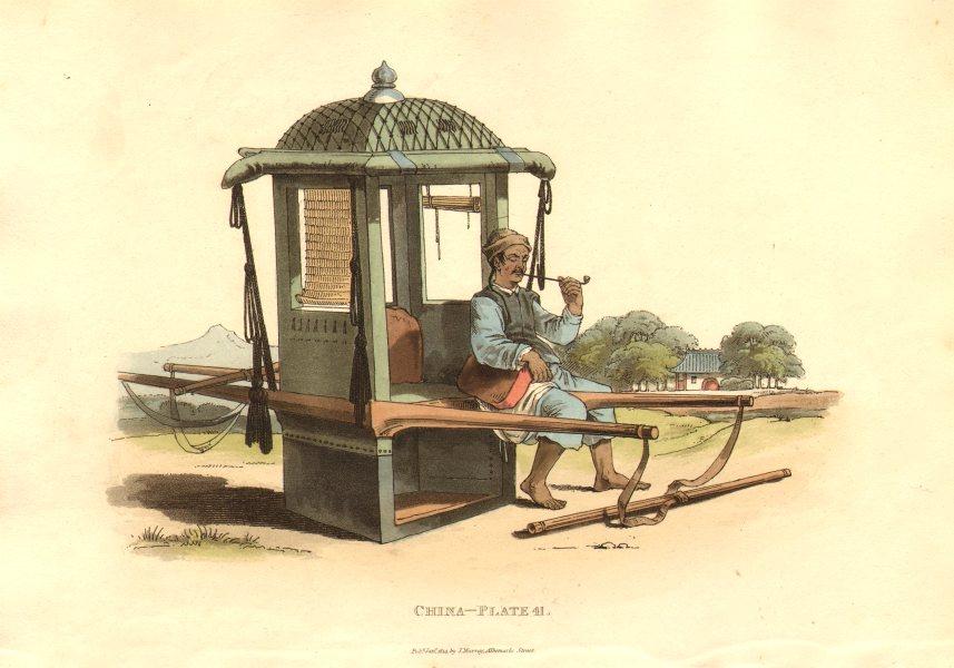Associate Product CHINA. A Sedan Chair. Chairman with a Sedan. ALEXANDER  1814 old antique print