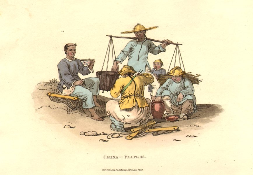 Associate Product CHINA.Trackers regaling;eating rice.Tracking barges canals.ALEXANDER 1814
