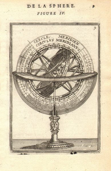 Associate Product ARMILLARY SPHERE. Cercle Meridien. Astrolabe. MALLET 1683 old antique print