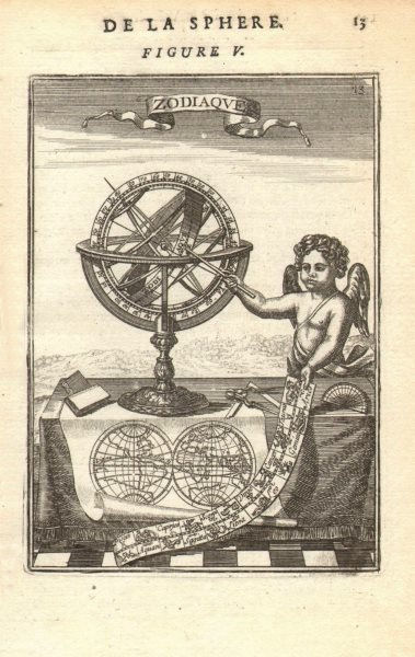 Associate Product ARMILLARY SPHERE. 'Zodiaque'. Signs of the Zodiac Cherub Astrolabe. MALLET 1683