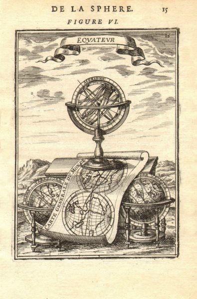 Associate Product ARMILLARY SPHERE. 'Equateur'. Carte Generale du Monde. Astrolabe. MALLET 1683