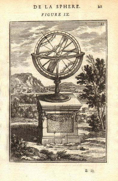 Associate Product ARMILLARY SPHERE. Cercles. Tropics. Arctic/Antarctic circle. MALLET 1683 print