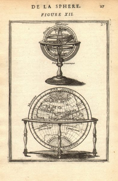Associate Product ARMILLARY SPHERE. compared to a Globe. Astrolabe. MALLET 1683 old antique map
