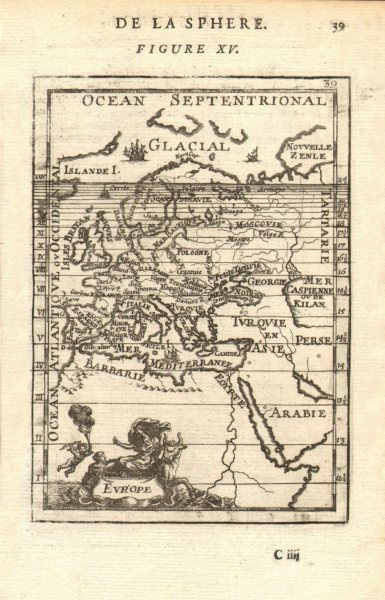 Associate Product EUROPE showing daylight hours at summer equinox. Sunrise-sunset. MALLET 1683 map