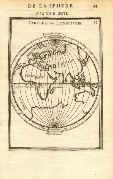 Associate Product EASTERN HEMISPHERE. Circles of Longitude. Southern continent. MALLET 1683 map