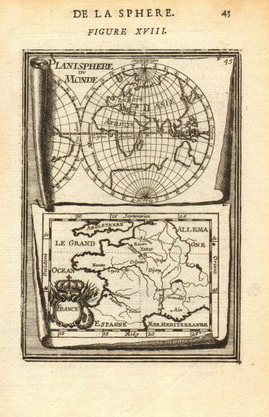 Associate Product FRANCE/WORLD. odd-shaped Australia close to southern continent. MALLET 1683 map