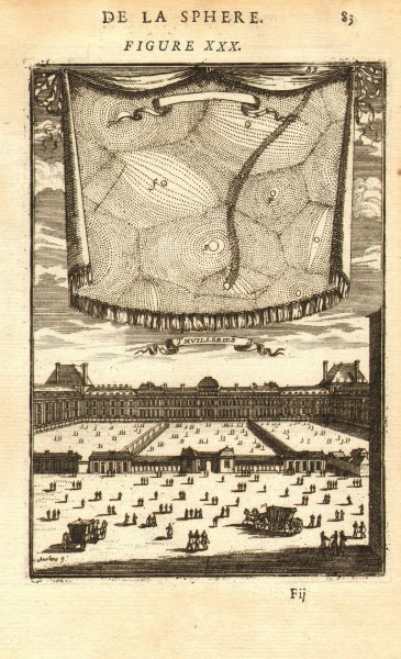Associate Product TUILERIES PALACE. 17th century view of Paris & the stars. Louvre. MALLET 1683