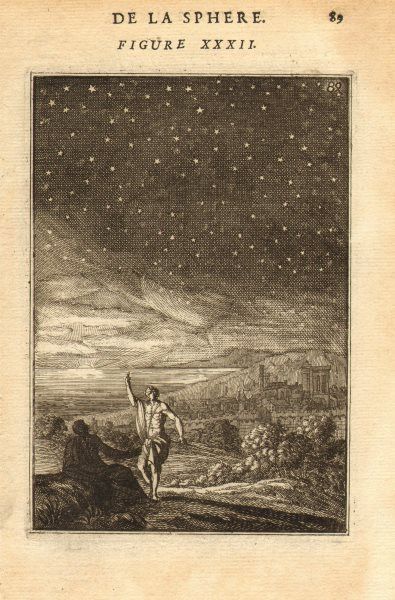 ASTRONOMY. View of the night sky. Stars. MALLET 1683 old antique print picture