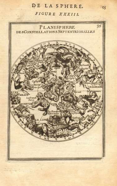 Associate Product NORTHERN NIGHT SKY. Planisphere Constellations Septentrionalles. MALLET 1683 map