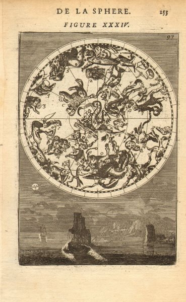 Associate Product NORTHERN NIGHT SKY Constellations Septentrionalles. Man in moon. MALLET 1683 map