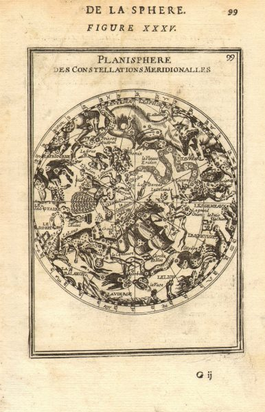 Associate Product SOUTHERN NIGHT SKY. Planisphere Constellations Meridionalles. MALLET 1683 map