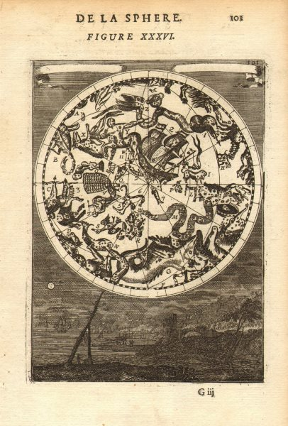 Associate Product SOUTHERN NIGHT SKY. Constellations Meridionales. Man in moon. MALLET 1683 map