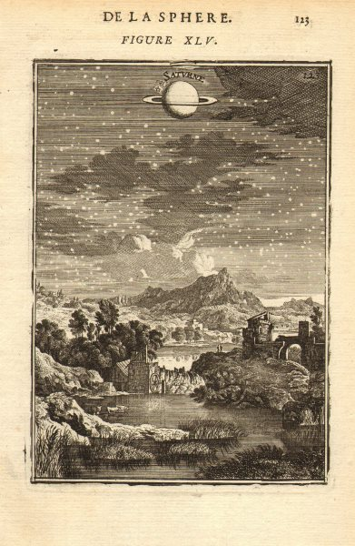 Associate Product SATURN. 'Saturne'. View of the planet in the night sky. MALLET 1683 old print