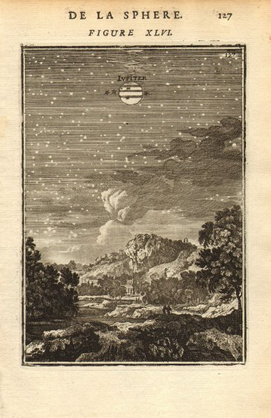 Associate Product JUPITER. 'Iupiter'. View of the planet in the night sky. MALLET 1683 old print