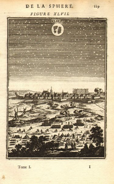 Associate Product MARS. View of the planet in the night sky. MALLET 1683 old antique print