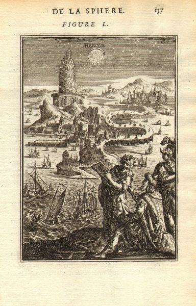 Associate Product MERCURY. 'Mercure'. Planet. View in the night sky. Tower of Babel. MALLET 1683