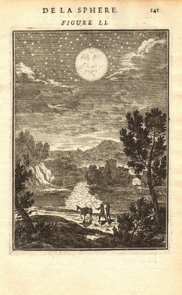 Associate Product MAN IN THE MOON. Moon. Moon in the night sky. MALLET 1683 old antique print
