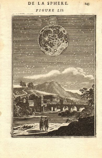 THE MOON. 'Lune'. Showing craters, topographical features. MALLET 1683 print