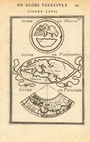 Associate Product ANCIENT WORLD. Maps by Mela, Posidonius & Ptolemy. MALLET 1683 old antique