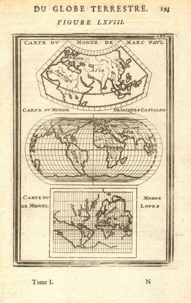 EARLY WORLD MAPS Paul (Marco Polo) Castaldo (Gastaldi) Lopez (Lopes) MALLET 1683