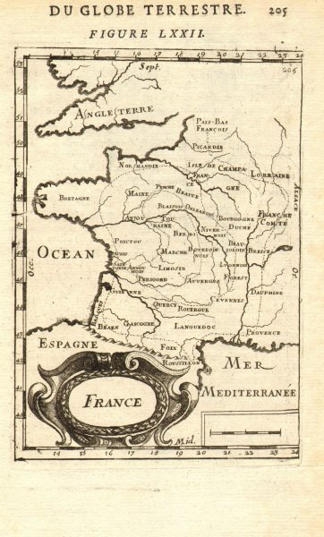 Associate Product MAP OF FRANCE. in regions. MALLET 1683 old antique vintage plan chart