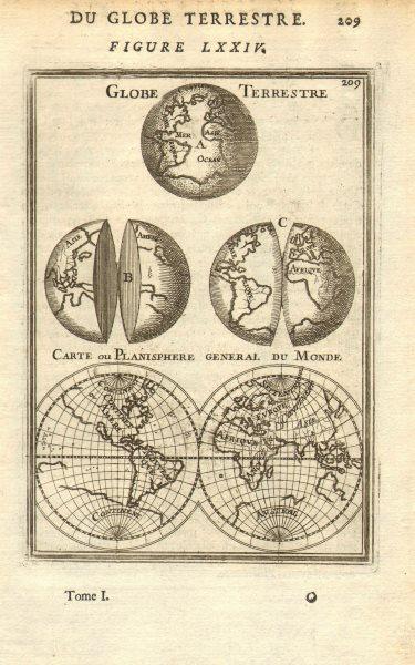 Associate Product WORLD. Globe Terrestre; Carte ou Planisphere General du Monde. MALLET 1683 map