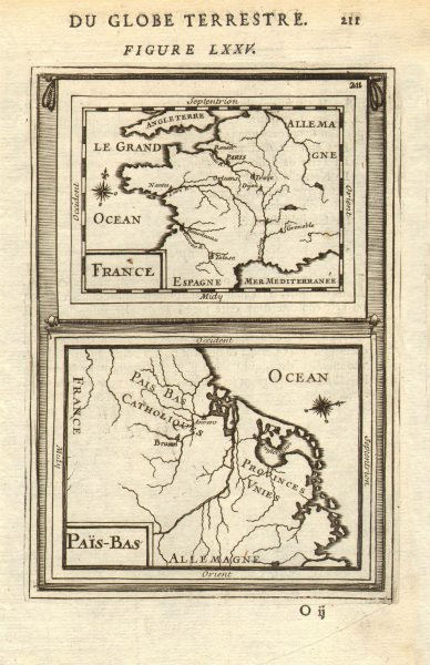 Associate Product FRANCE & BENELUX. 'Païs-Bas' orientated west. MALLET 1683 old antique map