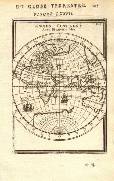 Associate Product EASTERN HEMISPHERE. Europe Asia Africa. Australia incomplete. MALLET 1683 map