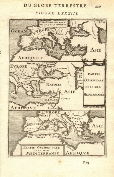 Associate Product MEDITERRANEAN. 'Mer Mediterranee Selon Les Modernes. MALLET 1683 old map