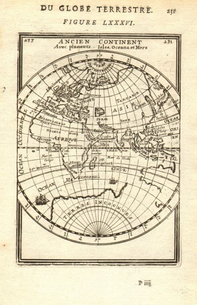 Associate Product EASTERN HEMISPHERE. 'Ancien continent'. Asia Africa Europe. MALLET 1683 map