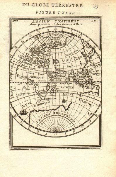 Associate Product EASTERN HEMISPHERE. Australia incomplete. Europe Asia Africa. MALLET 1683 map