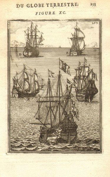 Associate Product SHIPS. 'Vaisseaux' A-Galleon B-Frigate C-Carrack D-Pink E-Fireship. MALLET 1683