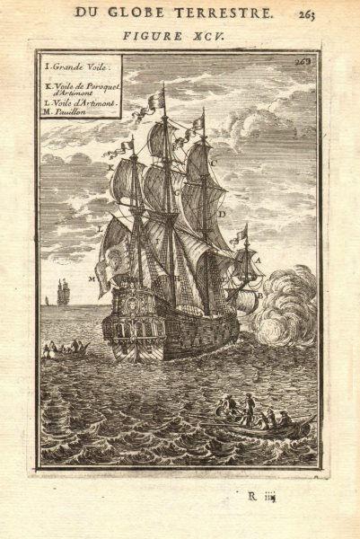 Associate Product SHIPS SAILS. Voiles d'un Navire. Principal sails of a ship. 17C. MALLET 1683