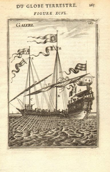 Associate Product GALLEY. 'Galere' A) Canopy B) Mainmast C) Foremast D) Yard E) Calcet MALLET 1683