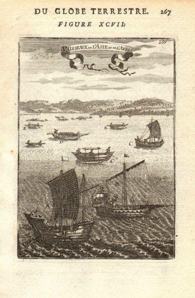 Associate Product ASIA/AFRICA BOATS. A China B India C Almadia canoe D Tome E Palegua logboat 1683